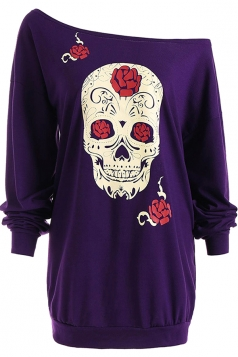 Womens One Shoulder Halloween Skull Printed Long Sleeve T-Shirt Purple