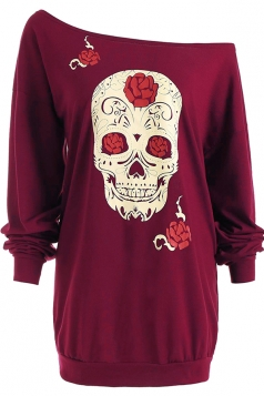 Womens One Shoulder Halloween Skull Printed Long Sleeve T-Shirt Ruby