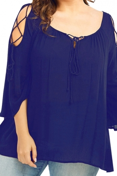 Womens Plus Size Cold Shoulder Lace Up 3/4 Length Sleeve Blouse Blue