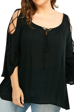 Womens Plus Size Cold Shoulder Lace Up 3/4 Length Sleeve Blouse Black