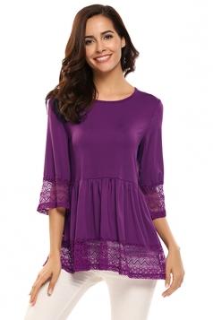Womens Ruffle Lace Half Sleeve Plain T-Shirt Purple