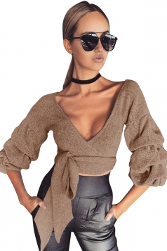 Womens Sexy Deep V-Neck Latern Sleeve Bandage Crop Top Khaki