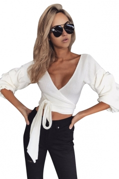 Womens Sexy Deep V-Neck Latern Sleeve Bandage Crop Top White