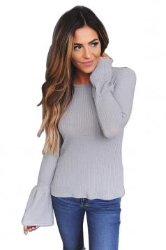 Womens Crew Neck Bell Sleeve Knit Pullover Plain T-Shirt Gray