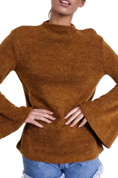 Womens Flare Sleeve Close-Fitting Crew Neck Plain T-Shirt Brown