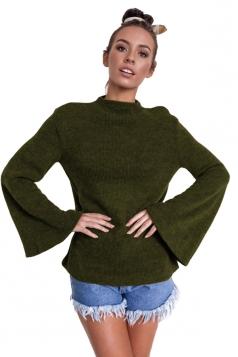 Womens Flare Sleeve Close-Fitting Crew Neck Plain T-Shirt Grey