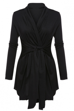 Womens Ruffle Bandage V-Neck Asymmetrical Hem Trench Coat Black