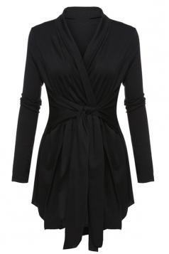 Womens Ruffle Bandage V-Neck Asymmetrical Hem Trench Coat Black