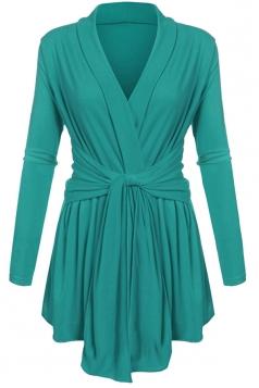 Womens Ruffle Bandage V-Neck Asymmetrical Hem Trench Coat Green