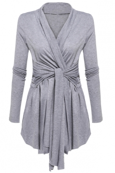 Womens Ruffle Bandage V-Neck Asymmetrical Hem Trench Coat Light Gray