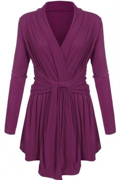 Womens Ruffle Bandage V-Neck Asymmetrical Hem Trench Coat Purple
