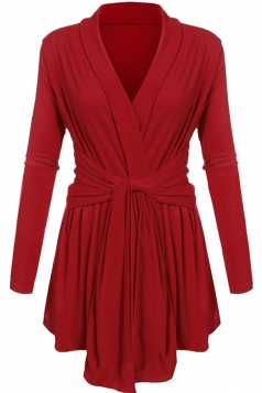 Womens Ruffle Bandage V-Neck Asymmetrical Hem Trench Coat Red