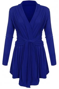 Women Ruffle Bandage V-Neck Asymmetrical Hem Trench Coat Sapphire Blue