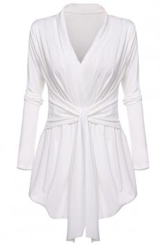 Womens Ruffle Bandage V-Neck Asymmetrical Hem Trench Coat White