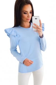Womens Crew Neck Long Sleeve Ruffle Shoulder Plain T-Shirt Blue