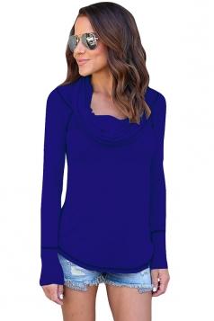 Womens Sexy Off Shoulder Bandage Long Sleeve Elastic Plain Top Blue