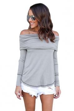 Womens Sexy Off Shoulder Bandage Long Sleeve Elastic Plain Top Gray