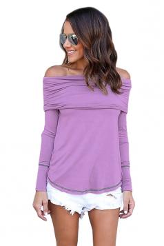 Womens Sexy Off Shoulder Bandage Long Sleeve Elastic Plain Top Purple