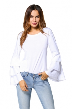 Womens Casual Bell Sleeve Crew Neck Plain T-Shirt White