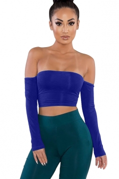 Womens Sexy Off Shoulder Long Sleeve Lace Up Crop Top Sapphire Blue
