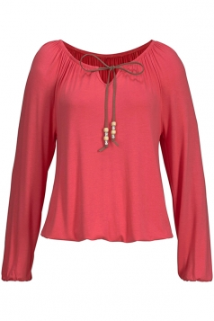 Womens Casual Long Sleeve Drawstring Plain Blouse Watermelon Red