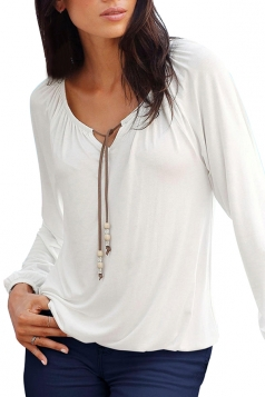 Womens Casual Long Sleeve Drawstring Plain Blouse White