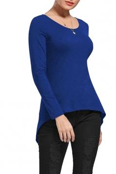 Womens Lace Up Asymmetrical Hem Long Sleeve Plain Blouse Blue
