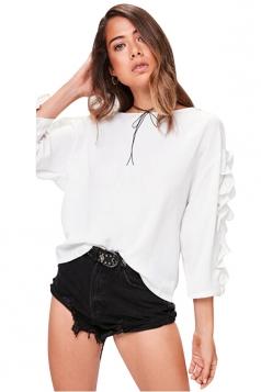 Womens Fashion Ruffled Sleeve Crew Neck Plain T-Shirt White