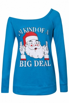 Womens Sexy Long Sleeve Santa Claus Printed One Shoulder Top Blue