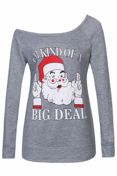 Womens Sexy Long Sleeve Santa Claus Printed One Shoulder Top Gray