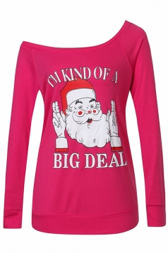 Womens Sexy Long Sleeve Santa Claus Printed One Shoulder Top Rose Red