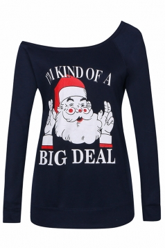 Womens Sexy Long Sleeve Santa Claus Printed One Shoulder Top Navy Blue