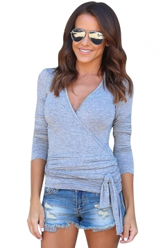 Womens Sexy V-Neck Bandage Bow Long Sleeve Plain T-Shirt Gray