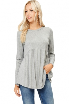Womens Crew Neck Long Sleeve Peplum Loose Plain T-Shirt Gray