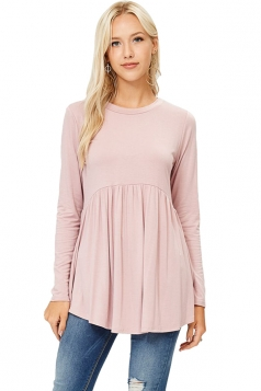 Womens Crew Neck Long Sleeve Peplum Loose Plain T-Shirt Pink