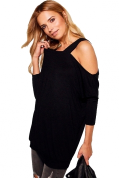 Womens Sexy Long Sleeve Oversized Plain One Shoulder Top Black