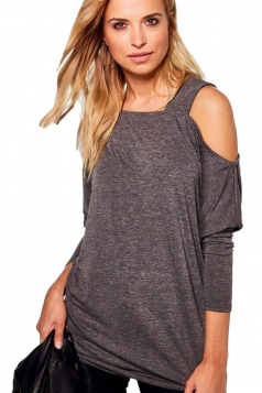 Womens Sexy Long Sleeve Oversized Plain One Shoulder Top Gray