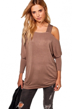Womens Sexy Long Sleeve Oversized Plain One Shoulder Top Khaki