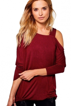 Womens Sexy Long Sleeve Oversized Plain One Shoulder Top Ruby
