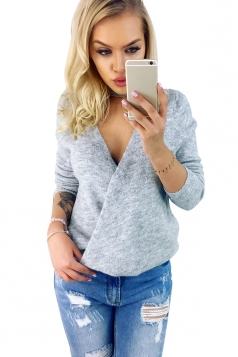 Womens Sexy V-Neck Long Sleeve Plain Halter Top Gray