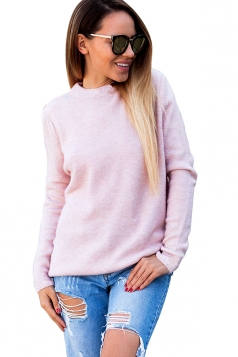 Womens Sexy V-Neck Long Sleeve Plain Halter Top Pink