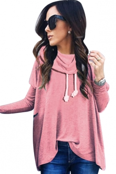 Womens Cowl Neck Long Sleeve Drawstring Plain T-Shirt Pink