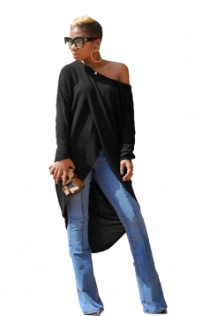 Womens Sexy Asymmetrical Hem Long Sleeve Plain One Shoulder Top Black