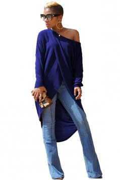 Womens Sexy Asymmetrical Hem Long Sleeve One Shoulder Top Navy Blue