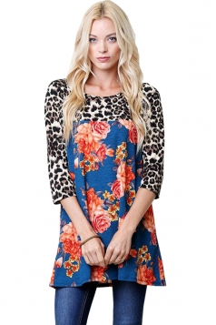 Womens Oversized Crew Neck Leopard And Flower Printed T-Shirt Blue