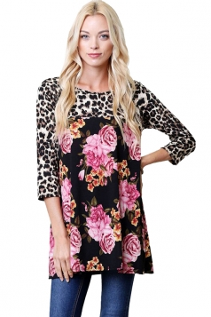 Womens Oversized Crew Neck Leopard And Flower Printed T-Shirt Black