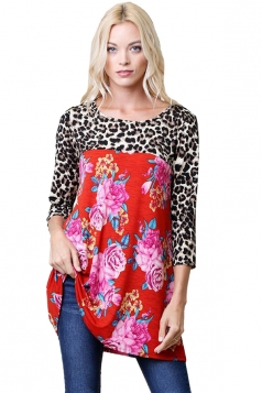 Womens Oversized Crew Neck Leopard And Flower Printed T-Shirt Red