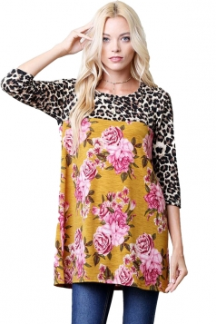 Womens Oversized Crew Neck Leopard And Flower Printed T-Shirt Yellow