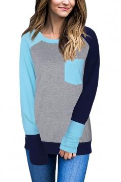 Womens Crew Neck Raglan Sleeve Pocket Patterned T-Shirt Light Blue