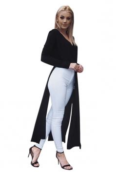 Womens Sexy V-Neck Slit Long Sleeve Maxi Length Plain Blouse Black